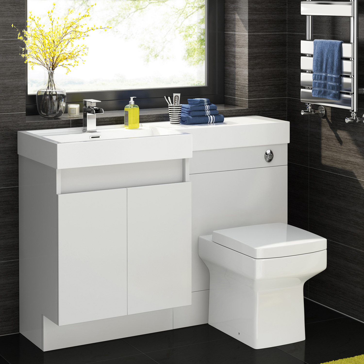 1200mm complete l shape bathroom suite with square toilet for Bathroom l shaped vanities