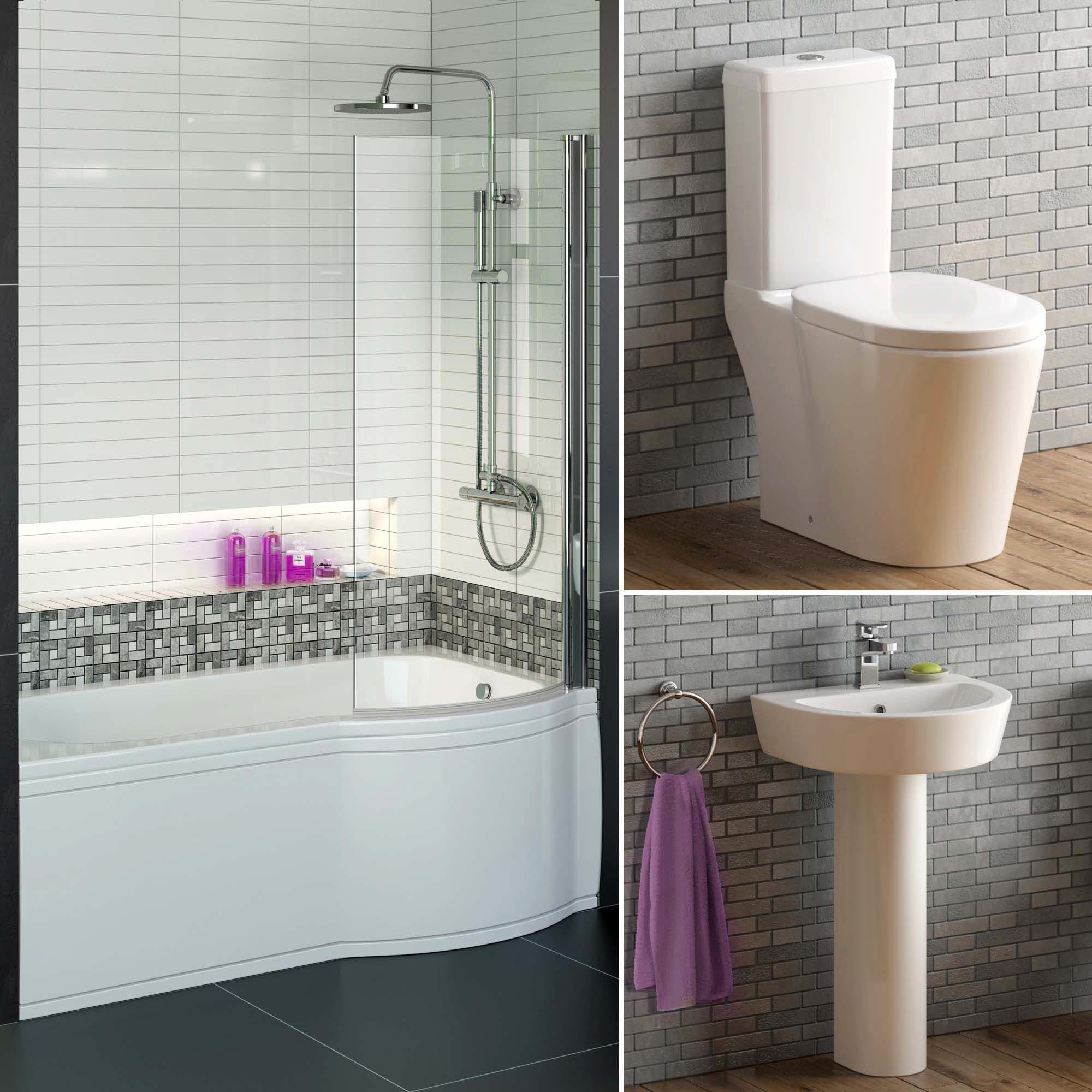 Complete Bathroom Suite With 1700 P Shape Bath And Toilet Plus Basin Pedestal Ebay