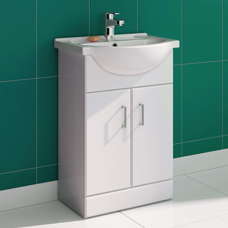 550mm bathroom cloakroom gloss white vanity unit ceramic - White gloss bathroom vanity unit ...