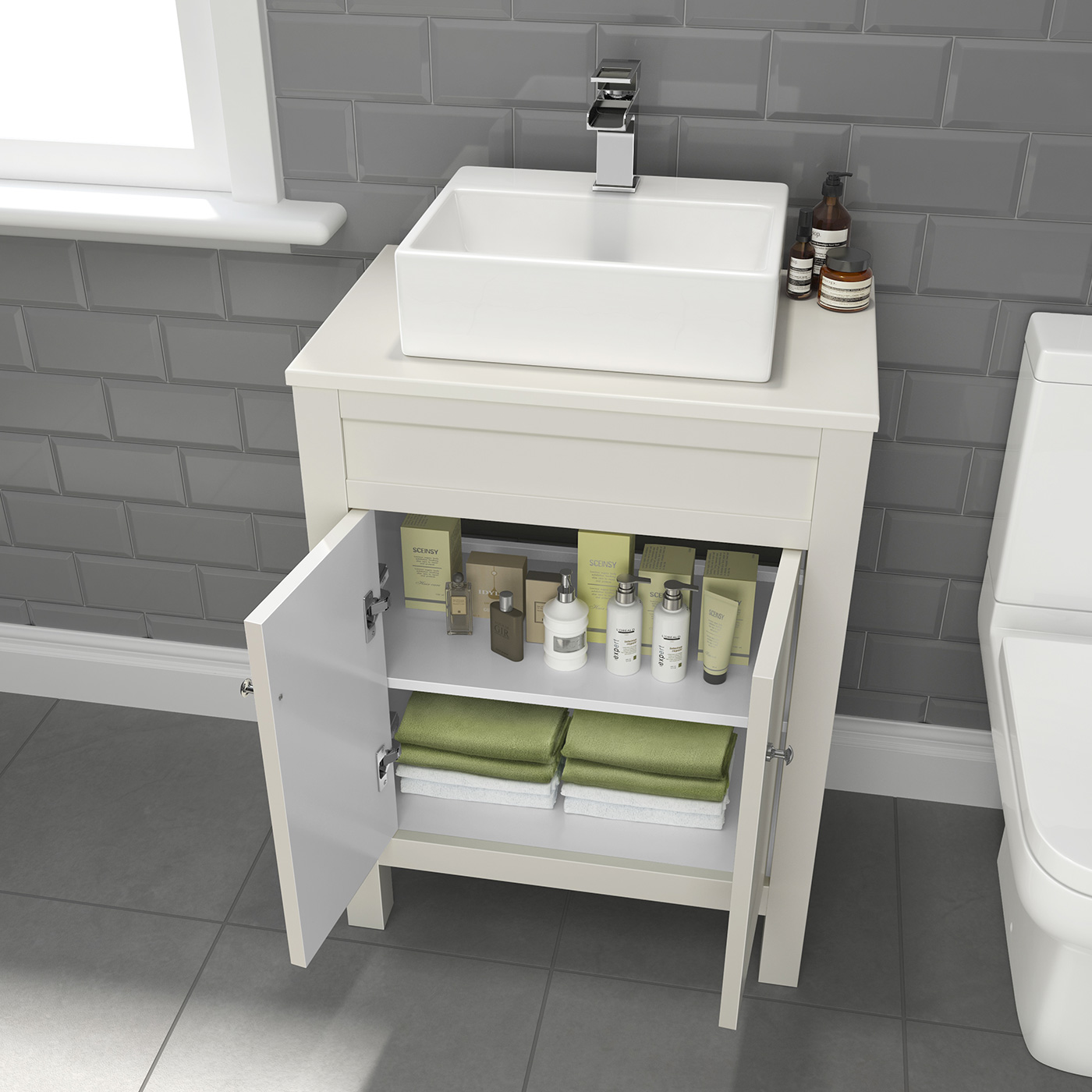 600mm Ivory Bathroom Vanity Unit With Ceramic Countertop ...