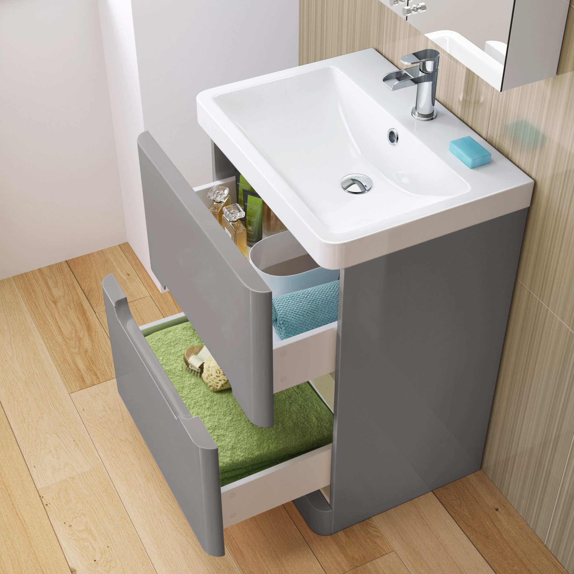 600mm grey basin vanity unit floor standing bathroom drawer cabinet ebay for Bathroom floor cabinet with drawer