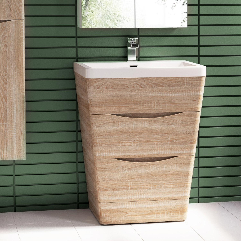 Vanity Units Light Oak : 650mm Light Oak Floor Mounted Vanity Unit With Basin eBay