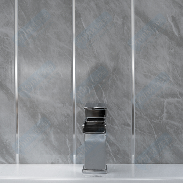 14 Dark Grey Bathroom Cladding Panels With Twin Chrome Feature PVC For Wall