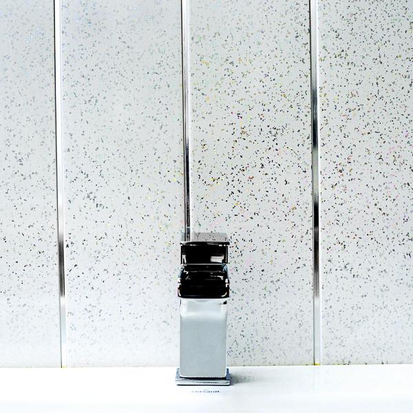 Platinum White Sparkle & Chrome Bathroom PVC Cladding Plastic Shower Wall Panels