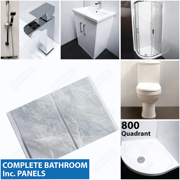 Complete bathroom grey marble panel x 2m 800 shower for Bathroom design 2m x 2m