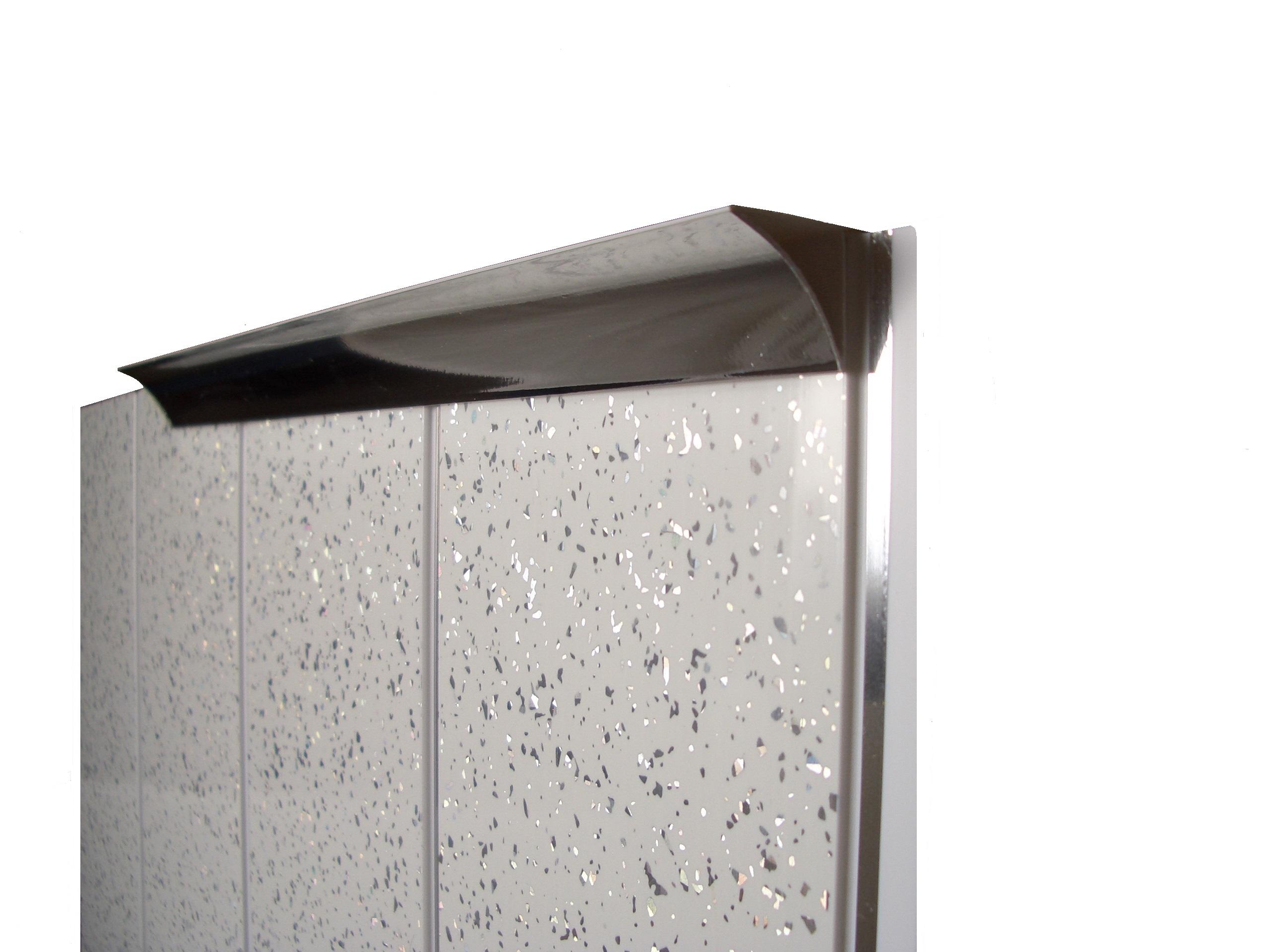 White Gloss Bathroom Wall Panels White & Chrome Trims PVC ...