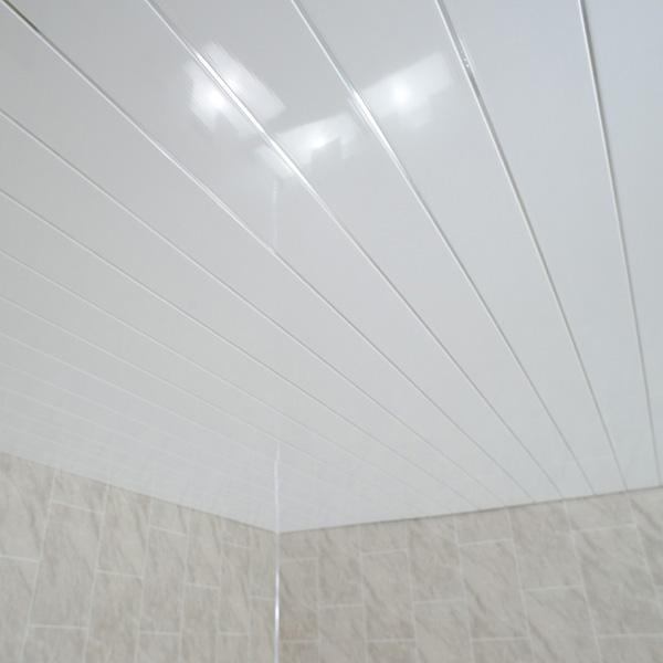 Gloss White Chrome Ceiling PVC Panels Bathroom Cladding Shower Wet Wall Kitchen
