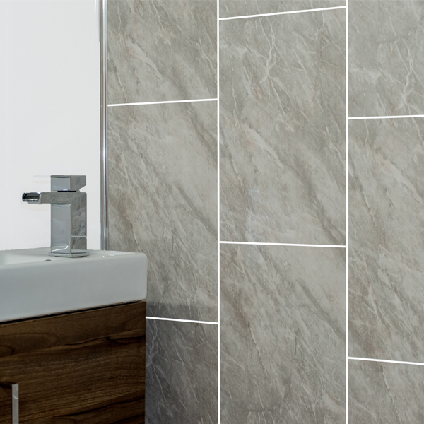 Grey marble tile groove bathroom panels shower wet wall - Bathroom wall covering instead of tiles ...