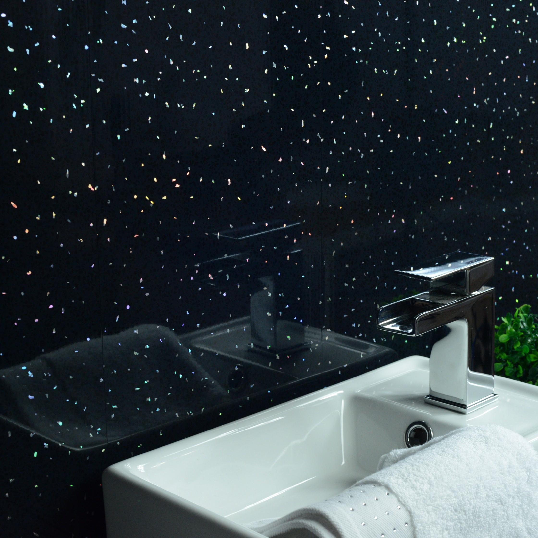 platinum white  black sparkle pvc wet wall cladding bathroom shower panels wc ebay