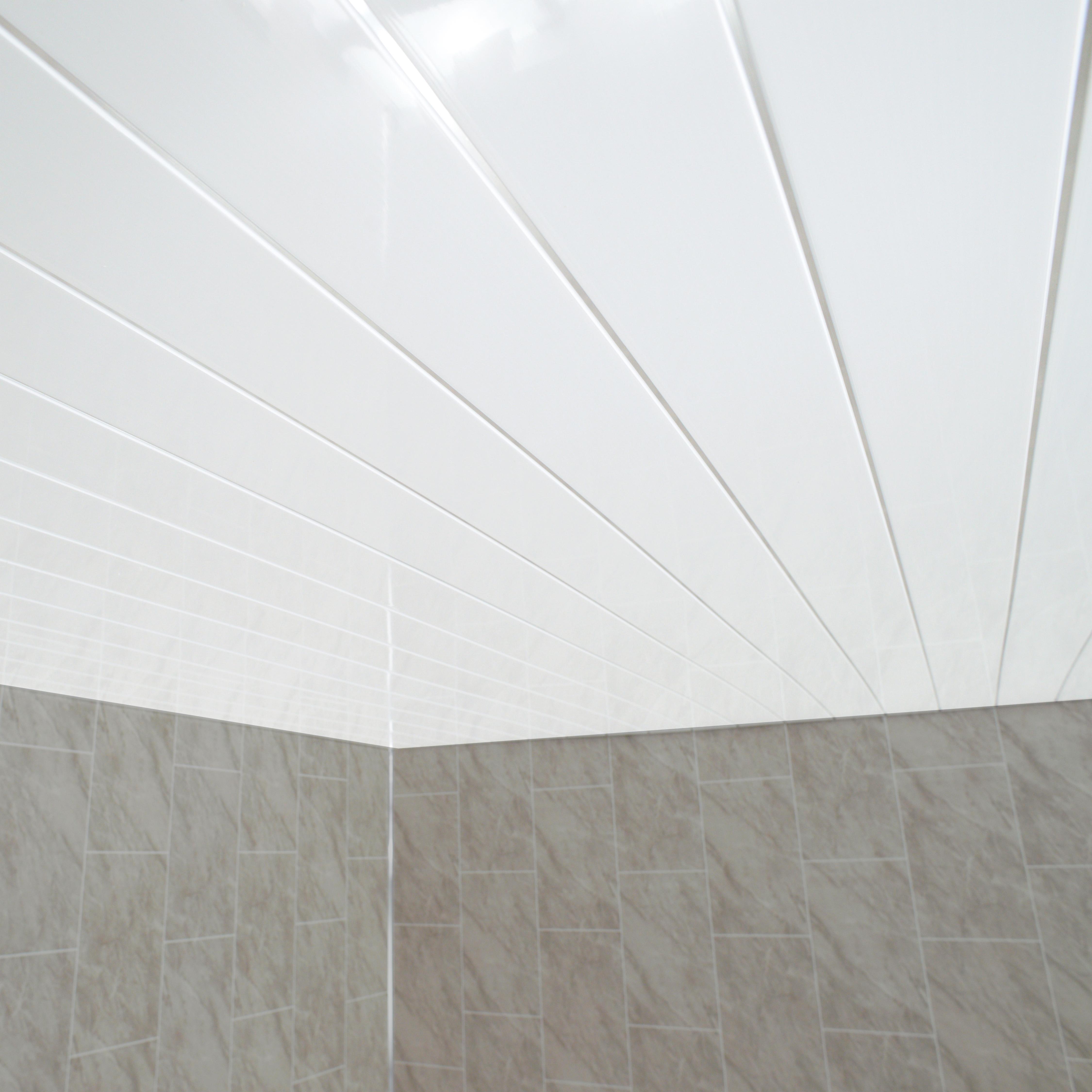 Gloss White Chrome Strip Bathroom Wall Cladding White ...