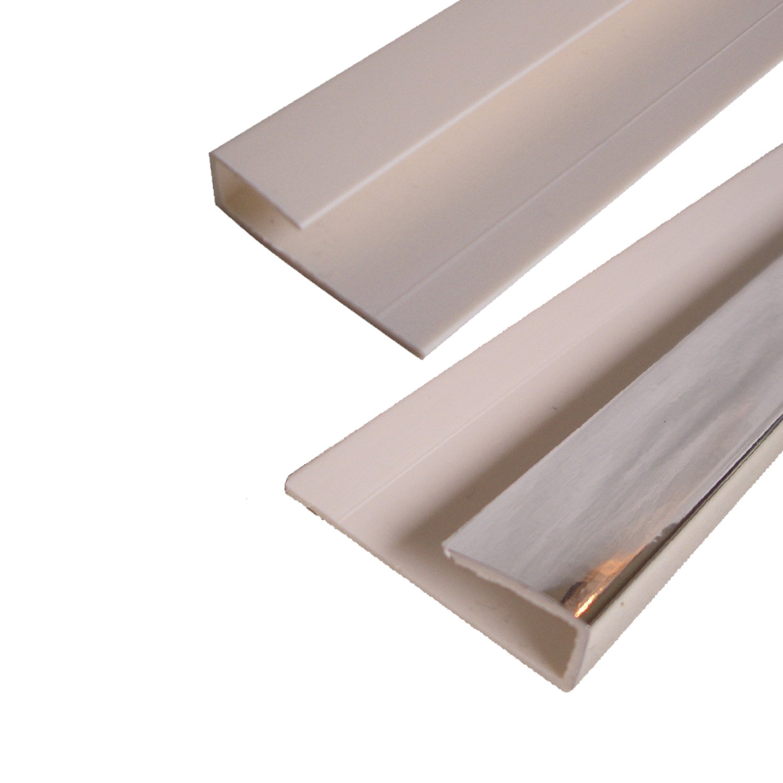 White Gloss Bathroom Wall Panels White & Chrome Trims PVC & Cladding Adhesive