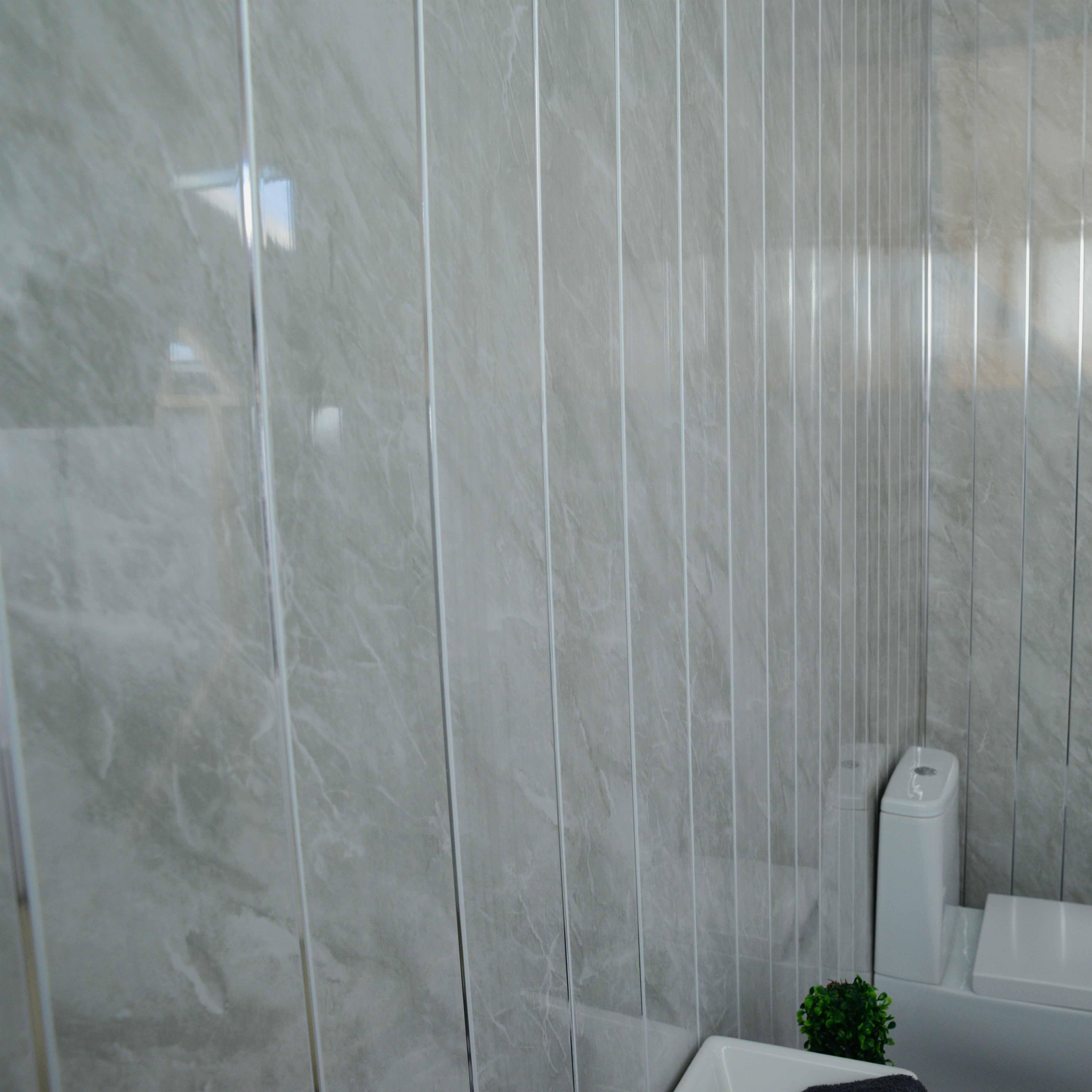 grey marble  chrome bathroom panels  light grey stone