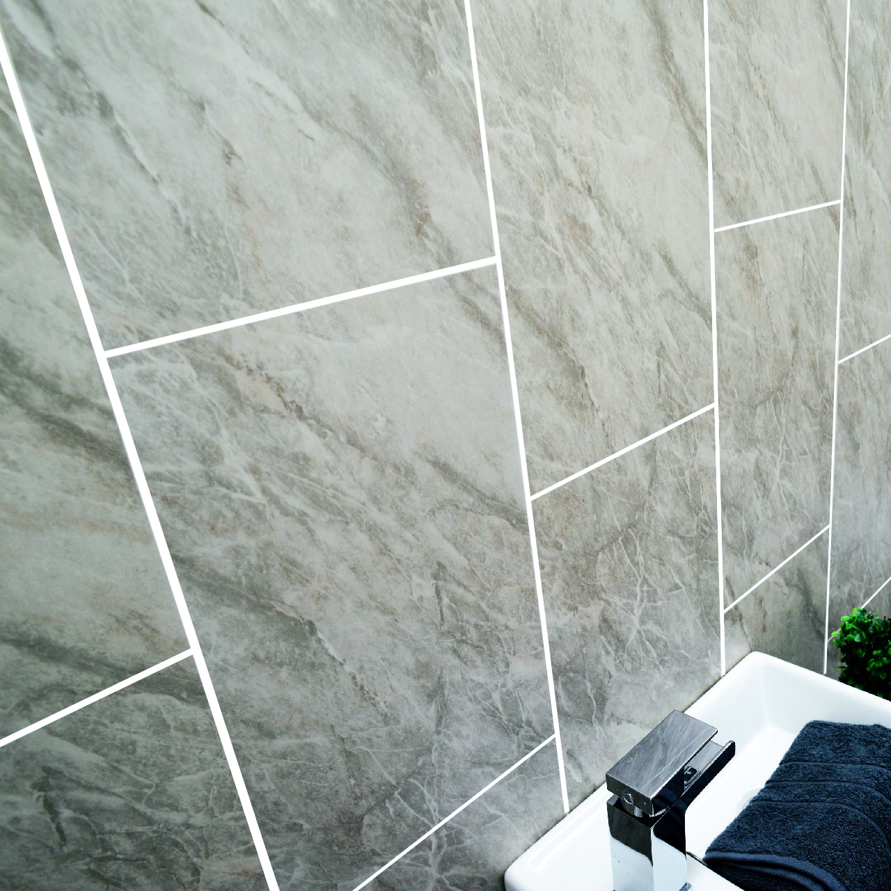 Grey Panels, Anthracite Tile Effect Cladding, Gold Hues Bathroom ...