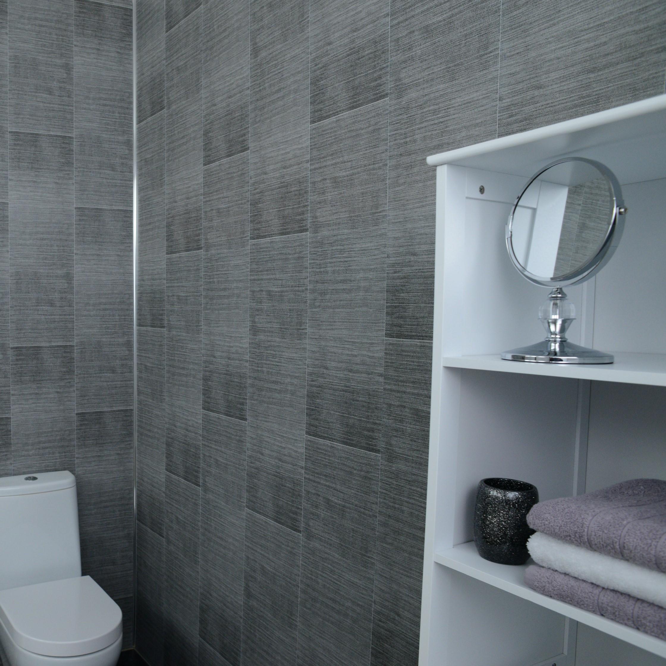 Grey Brushed Tile Effect Bathroom Cladding Amp Light Grey