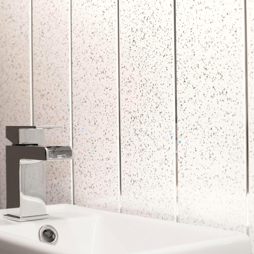 Platinum White Sparkle With Chrome Strip Wall Cladding Ceiling - White sparkle bathroom cladding
