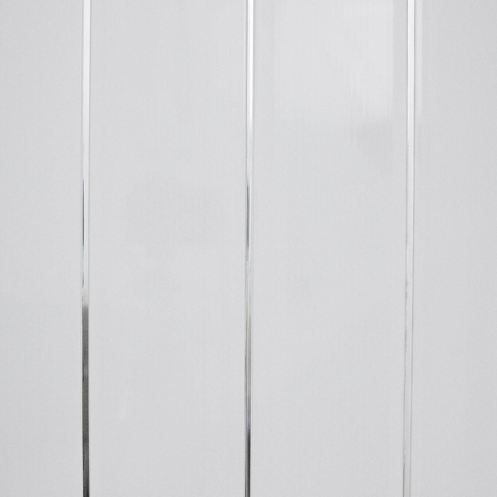 Gloss White Chrome Strip Bathroom Wall Cladding White