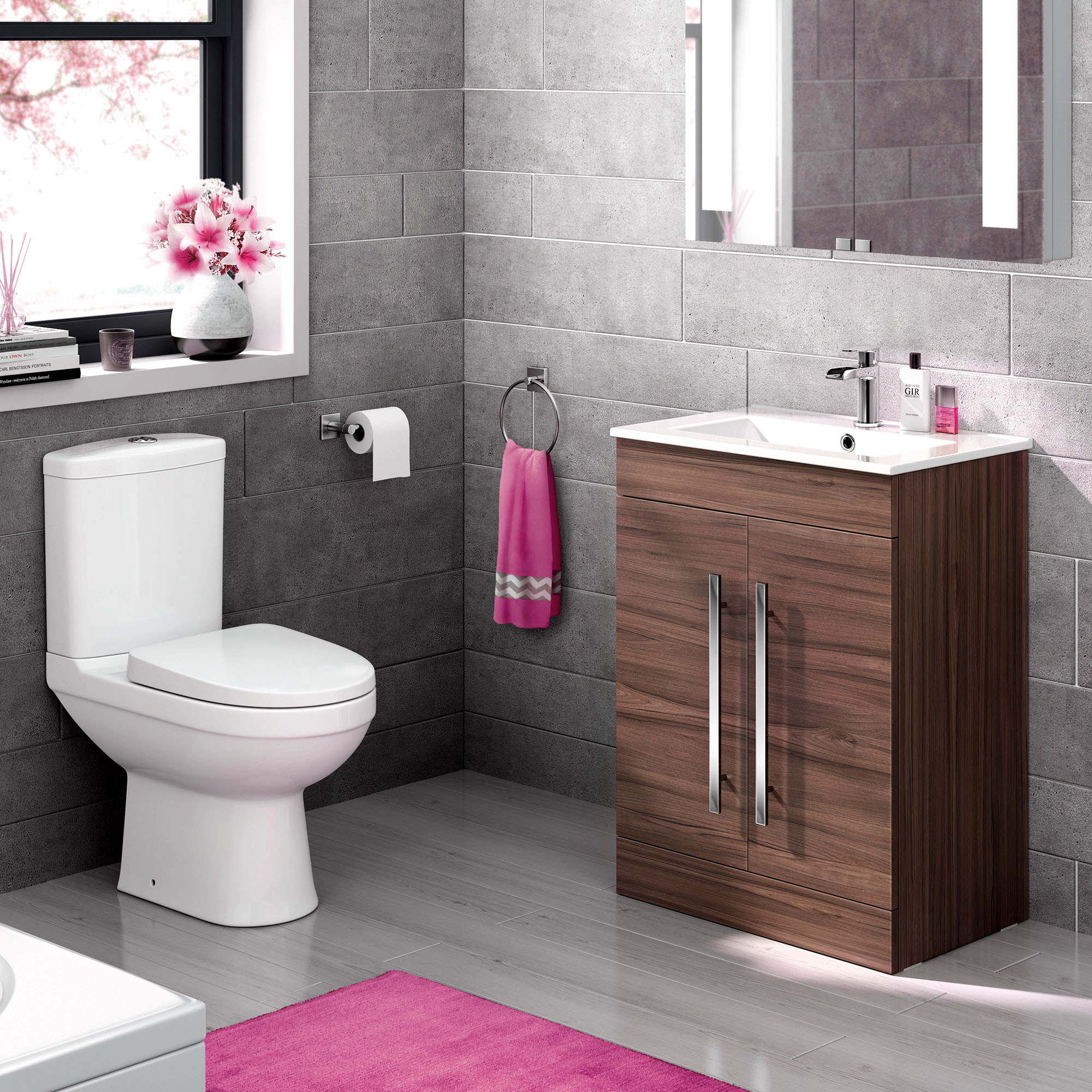 Complete Bathroom Suite With Close Coupled Toilet And Walnut Basin Unit