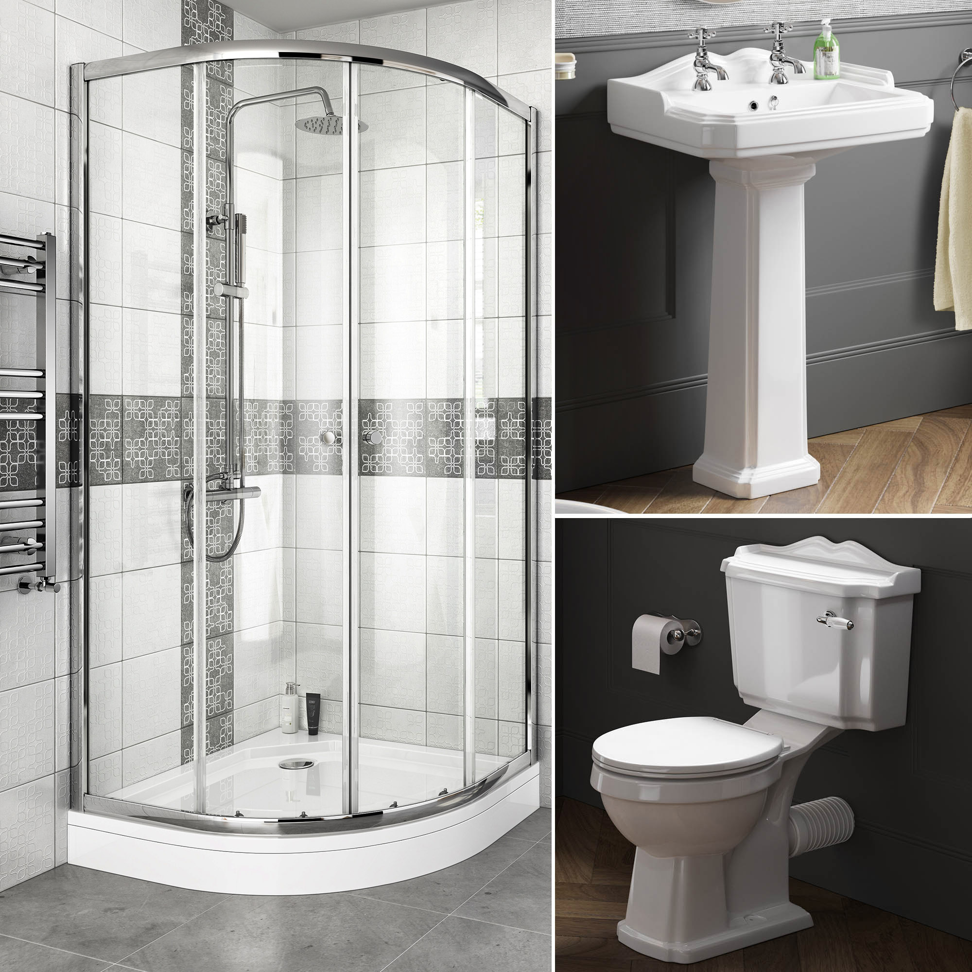 Complete Bathroom Suite Quadrant Shower Enclosure With Toilet And Basin Pedestal Ebay