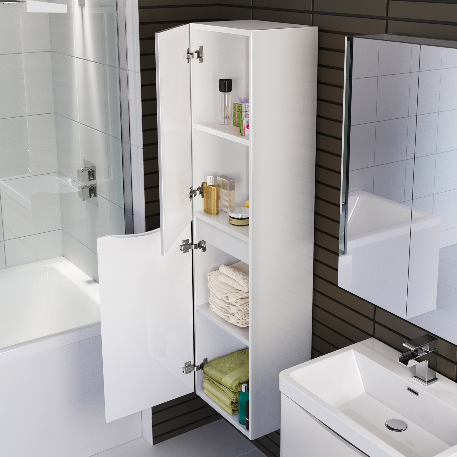 1400mm wall mounted tall bathroom storagte cabinet with soft close